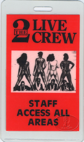 2 LIVE CREW 1989 NASTY TOUR Laminated Backstage Pass