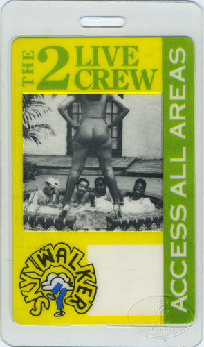 2 LIVE CREW 1987 TOUR Laminated Backstage Pass
