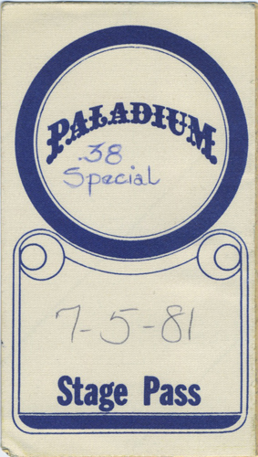 .38 SPECIAL 1981 TOUR Backstage Pass Palladium