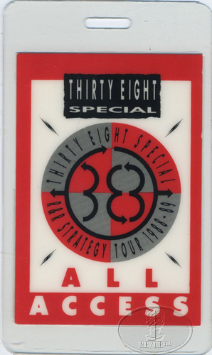 .38 SPECIAL 1988-89 Laminated Backstage Pass