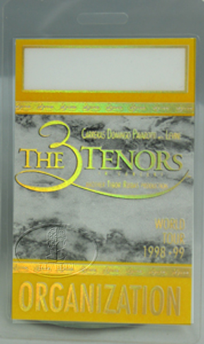 3 TENORS 1998-99 World Tour Laminated Backstage Pass PAVAROTTI DOMINGO CARRERAS