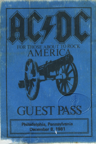 AC/DC 1981 ABOUT TO ROCK Backstage Pass PHILADELPHIA