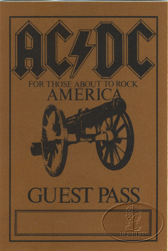 AC/DC 1981-82 ABOUT TO ROCK Backstage Pass Guest