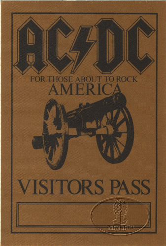 AC/DC 1981-82 ABOUT TO ROCK Backstage Pass Visitors