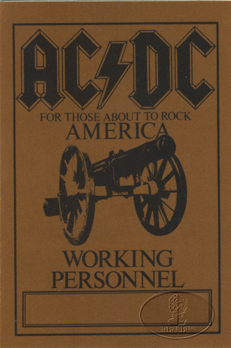 AC/DC 1981-82 ABOUT TO ROCK Backstage Pass Crew