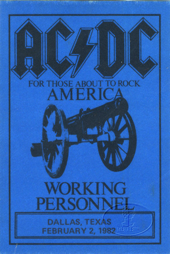 AC/DC 1982 ABOUT TO ROCK TOUR BACKSTAGE PASS DALLAS