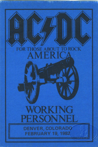 AC/DC 1982 ABOUT TO ROCK TOUR BACKSTAGE PASS DENVER
