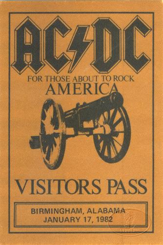 AC/DC 1982 About To Rock Tour Backstage Pass Birmingham