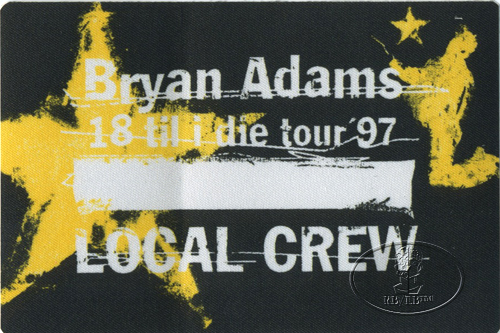 BRYAN ADAMS 1997 CREW Backstage Pass gold
