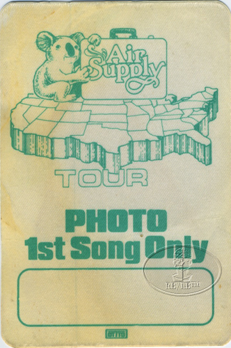 AIR SUPPLY 1983 NORTH AMERICAN TOUR BACKSTAGE PASS
