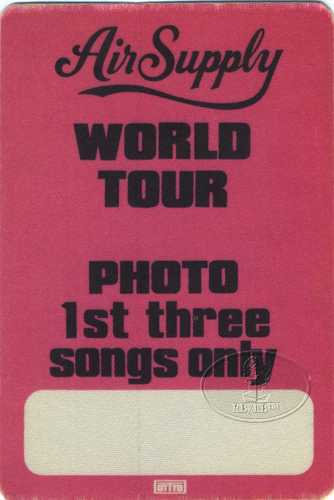 AIR SUPPLY 1984 WORLD TOUR BACKSTAGE PASS