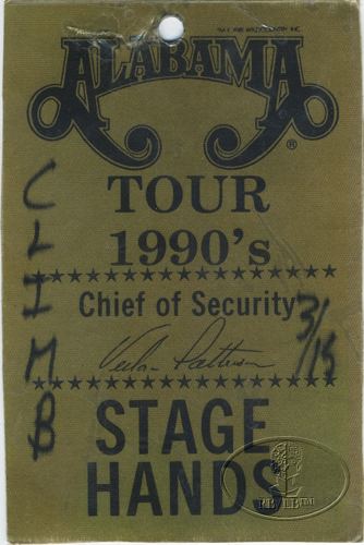 ALABAMA 1990 JUKEBOX IN MY MIND TOUR BACKSTAGE PASS