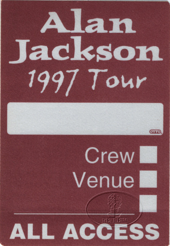 ALAN JACKSON 1997 TOUR Backstage Pass ALL ACCESS