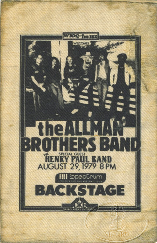 ALLMAN BROTHERS BAND 1979 TOUR Backstage Pass HENRY PAUL BAND Spectrum Philly