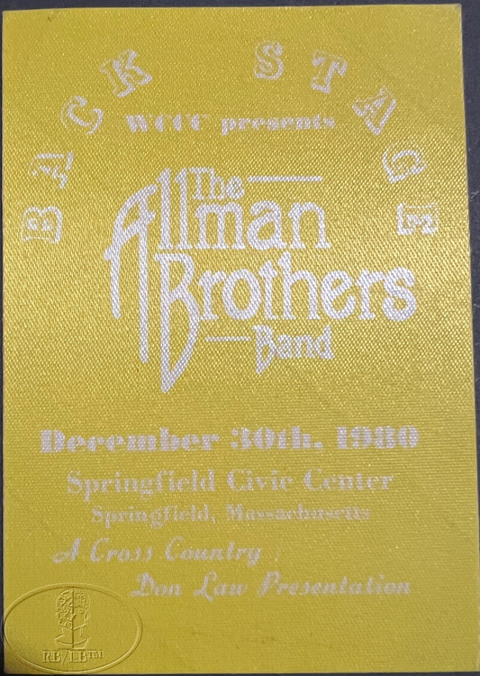 ALLMAN BROTHERS BAND 1980 WORLD TOUR Backstage Pass