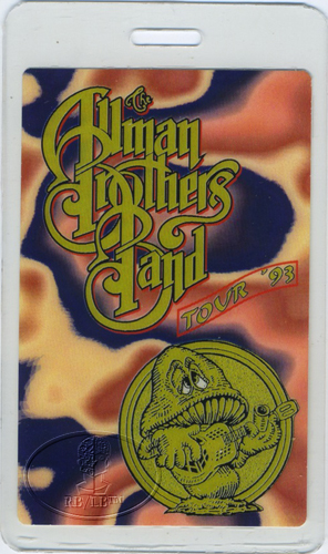 ALLMAN BROTHERS 1993 LAMINATED BACKSTAGE PASS