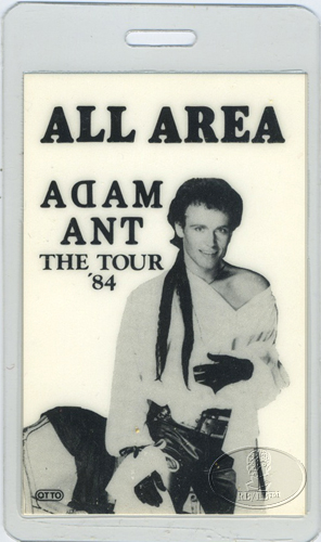 ADAM ANT 1984 STRIP TOUR Laminated Backstage Pass