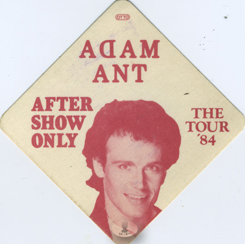 ADAM ANT 1984 STRIP TOUR BACKSTAGE PASS ASO