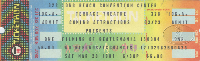 FILMING OF BEATLEMANIA 1981 UNUSED CONCERT TICKET AUDIENCE PARTICIPATION