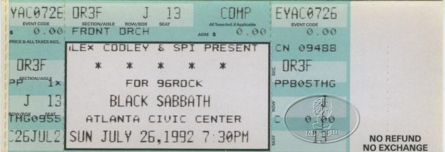 black sabbath danzig 1992 unused concert ticket ebay. Black Bedroom Furniture Sets. Home Design Ideas