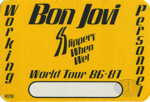 BON JOVI 1986-87 SLIPPERY BACKSTAGE PASS Crew yellow