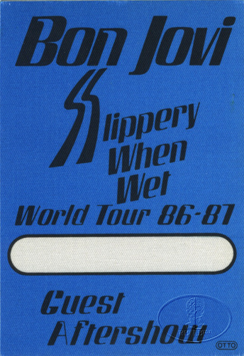 BON JOVI 1986-87 SLIPPERY WHEN WET Backstage Pass VIP