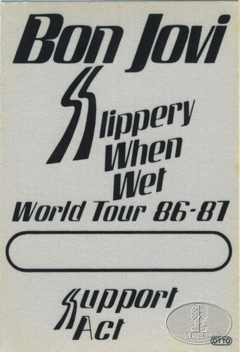 BON JOVI 1986-87 SLIPPERY WHEN WET Backstage Pass Support Act