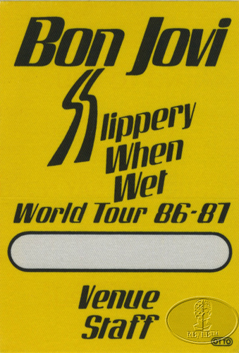 BON JOVI 1986-87 SLIPPERY WHEN WET Backstage Pass STAFF