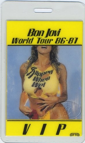BON JOVI 1986-87 SLIPPERY TOUR LAMINATED BACKSTAGE PASS