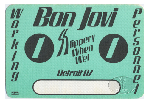 BON JOVI 1987 SLIPPERY BACKSTAGE PASS Detroit