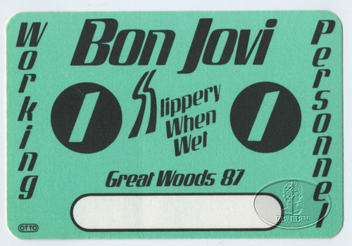 BON JOVI 1987 SLIPPERY BACKSTAGE PASS Great Woods green