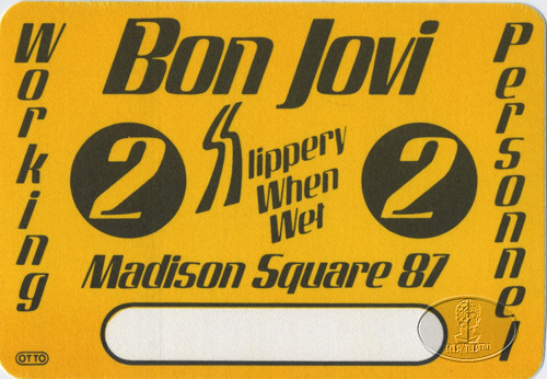 BON JOVI 1987 SLIPPERY BACKSTAGE PASS Madison Square Garden