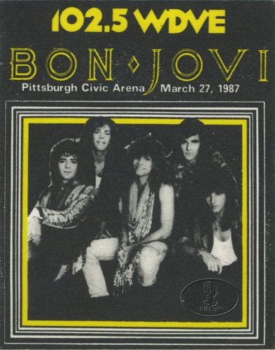 BON JOVI 1987 RADIO PROMO BACKSTAGE PASS Pittsburgh