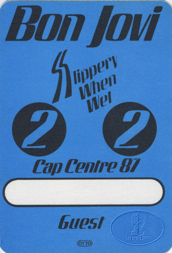 Bon Jovi 1987 Slippery Backstage Pass Cap Centre Blue