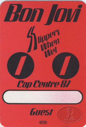 BON JOVI 1987 SLIPPERY Backstage Pass CAP CENTRE red