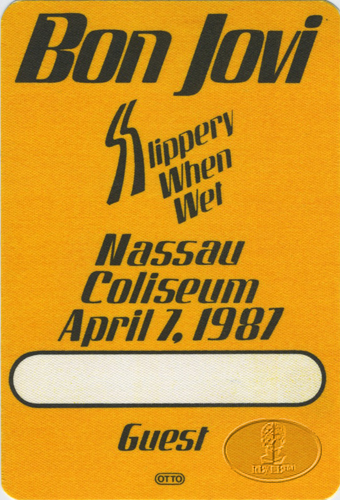 BON JOVI 1987 SLIPPERY WHEN WET Backstage Pass NASSAU