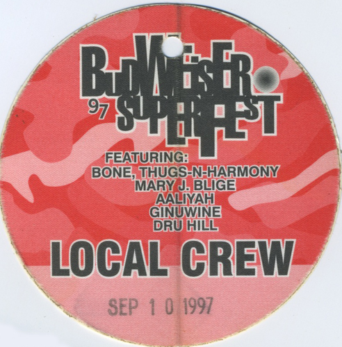 BUDWEISER SUPERFEST MARY J. BLIGE AALIYAH 1997 BACKSTAGE PASS Dru Hill Bone
