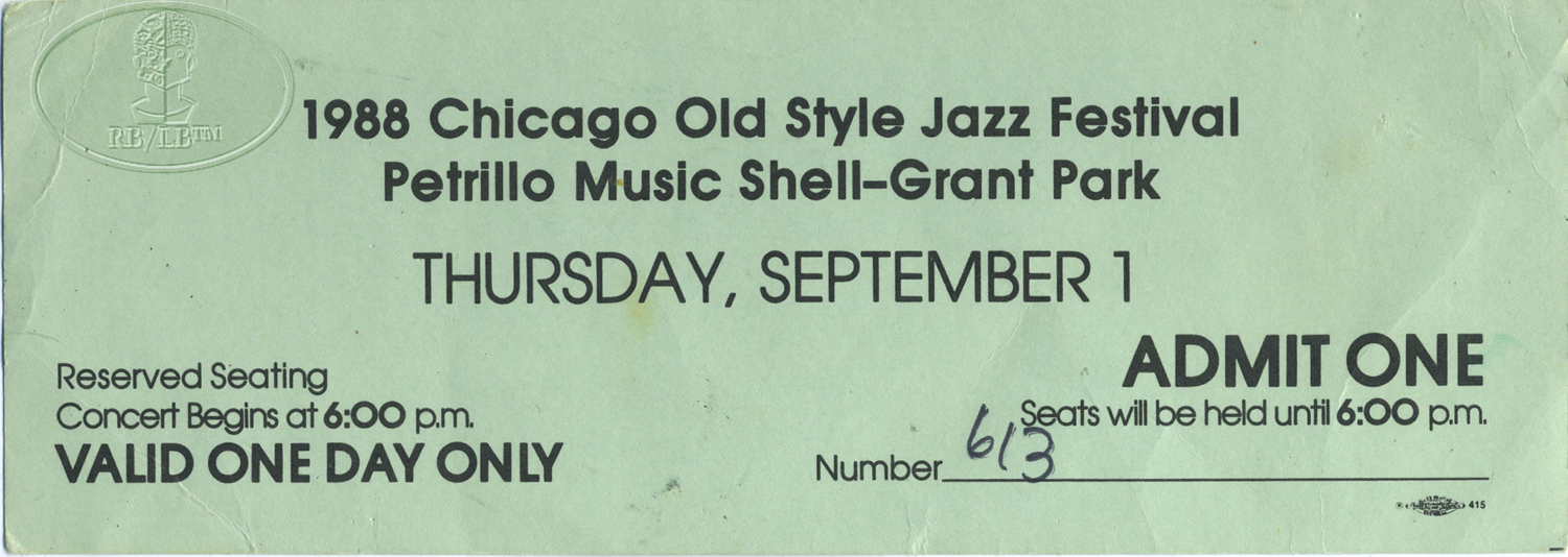 CHICAGO JAZZ FESTIVAL 1988 UNUSED TICKET