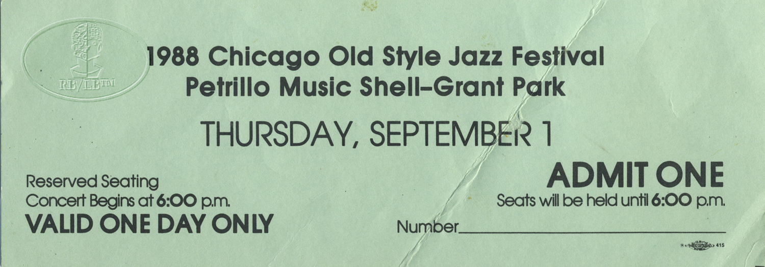 CHICAGO JAZZ FESTIVAL 1988 UNUSED TICKET JOE WILLIAMS