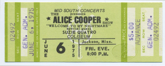 ALICE COOPER 1975 UNUSED CONCERT TICKET SUZI QUATRO
