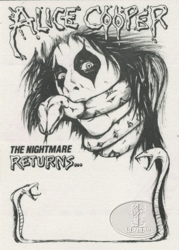 ALICE COOPER 1986 NIGHTMARE RETURNS BACKSTAGE PASS