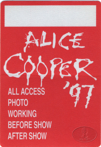 ALICE COOPER 1997 FISTFUL OF ALICE BACKSTAGE PASS