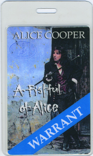 ALICE COOPER & WARRANT 1997 Laminated Backstage Pass