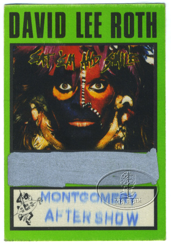 DAVID LEE ROTH 1986 BACKSTAGE PASS ASO green VAN HALEN Montgomery