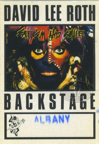 DAVID LEE ROTH 1986 BACKSTAGE PASS AA white VAN HALEN Albany
