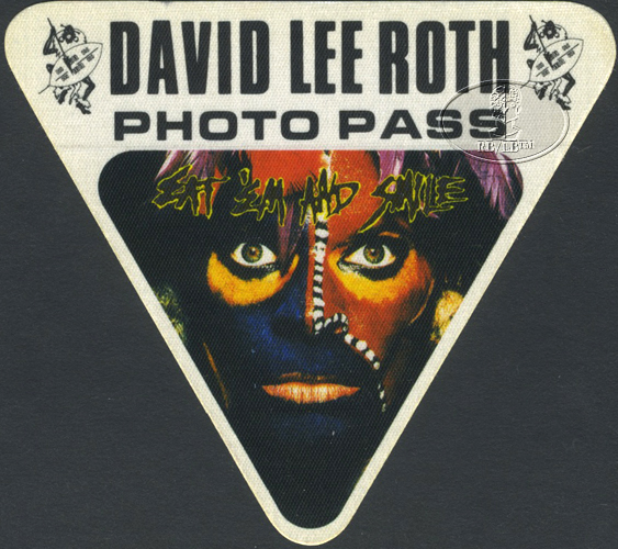 David Lee Roth 1986 Backstage Pass Photo Wht Van Halen