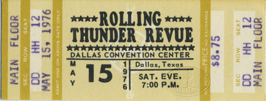 BOB DYLAN 1976 ROLLING THUNDER Unused Concert Ticket
