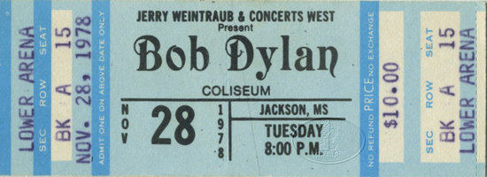 BOB DYLAN 1978 Unused Concert Ticket