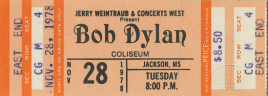 BOB DYLAN 1978 TOUR Unused Concert Ticket