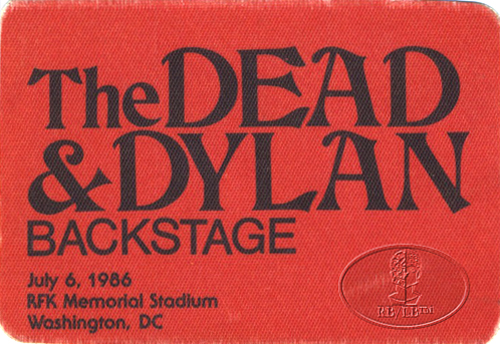 GRATEFUL DEAD & BOB DYLAN 7/6/86 BACKSTAGE PASS RFK Memorial Stadium